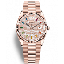 Replica Rolex Day-Date Rose Gold Swiss Watches 128235-0039 Diamonds-paved Dial 36mm(High End)