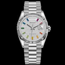 Replica Rolex Day-Date Swiss Watches 128239-0019 Diamonds Dial 36mm(High End)