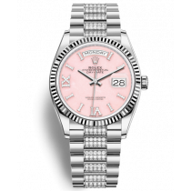 Replica Rolex Day-Date Swiss Watches 128239-0030 Pink Opal Dial 36mm(High End)