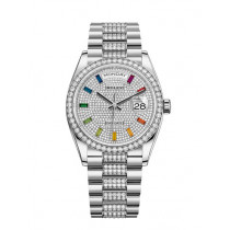 Replica Rolex Day-Date Swiss Watches 128349RBR-0012 Diamonds-paved Dial 36mm(High End)