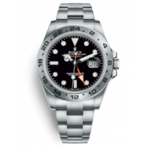Swiss Replica Rolex Explorer II Black Dial Orange GMT Hand (Super Model)