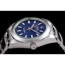 Rolex Milgauss Swiss Replica Watch 116400GV-0002 Blue Dial Super Model)