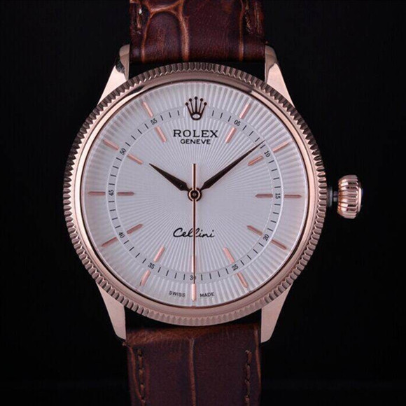 Swiss Rolex Cellini Rose Gold White Dial Stick Time Markers Automatic Replica Watch