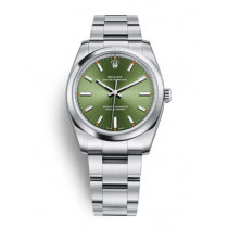 Replica Rolex Oyster Perpetual Swiss Watches 114200-0021 Green Dial 34mm(High End)
