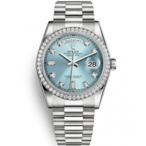 Rolex Day-Date Swiss Automatic Watch 118346-0028 Ice-Blue Dial 36mm (High End)
