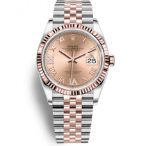 Rolex Datejust Swiss Automatic Yellow Gold Watch 126231-0027 Rose Gold Dial 36mm (High End)