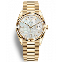 Replica Rolex Day-Date Yellow Gold Swiss Watches 128238-0011 MOP Dial 36mm(High End)
