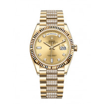 Replica Rolex Day-Date Swiss Watches 128238-0026 Gold Dial 36mm(High End)