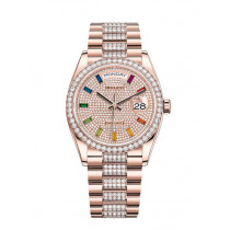 Replica Rolex Day-Date Swiss Watches 128345RBR-0043 Diamonds-paved Dial 36mm(High End)