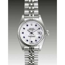 Rolex Datejust Replica Watches SS Gray Dial Blue Stone Hour Markers
