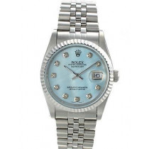 Rolex Datejust Replica Watches Jubilee SS Blue pearl dial diamond hour markers