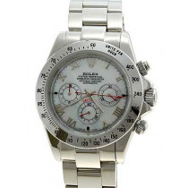 Rolex Daytona Replica Watches SS All Stainless Pearl dial with roman numeral hour markers