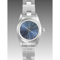 Rolex Oyster Perpetual Replica Watches SS Stainless Steel Blue Dial Bar Hour markers