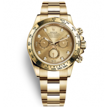 Rolex Cosmograph Daytona 18K Gold Golden dial Diamond time markers Automatic Replica Watch
