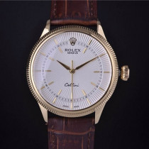 Rolex Cellini Swiss Automatic Watch Yellow Gold Brown Strap