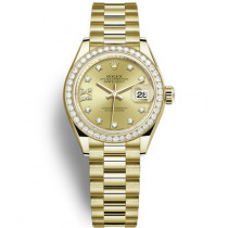 Replica Rolex Datejust Ladies Swiss Watches 279138RBR-0006 Gold Dial 28mm(High End)