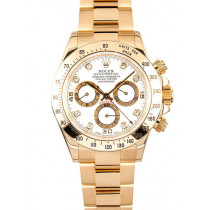 Rolex Cosmograph Daytona 18K Gold White dial Diamond time markers Automatic Replica Watch