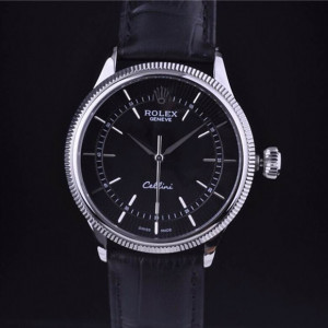 Swiss Rolex Cellini18K White Gold Black Dial Stick Time Markers Automatic Replica Watch